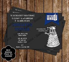 Doctor Who Dalek Birthday Party Invitation -  15 Printed W/envelopes