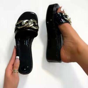 Women's Platform Slippers Open Toe Slip On Metal Chain Wedge Heel Sandals Shoes