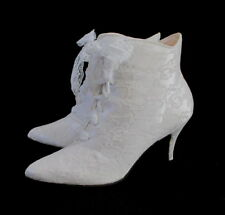 Vintage 80's White Lace Satin Victorian Style Wedding Granny Boots 9