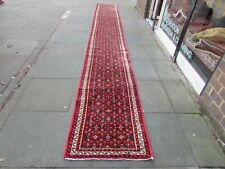 Vintage Traditional Hand Made Oriental Red Wool Very Long Runner 577x75cm
