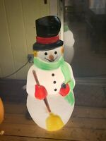 Vintage Frosty the Snowman Carrot Nose Lighted Christmas Blow Mold Empire 40""