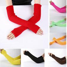 Womens Mitten Gloves Arm Warmer Cashmere Knitted Soft Long Fingerless Gloves
