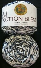 New ListingLion Brand Twisted Cotton Blend Yarn - Navy Blue/Ecru - Color #207 - 2 cakes New