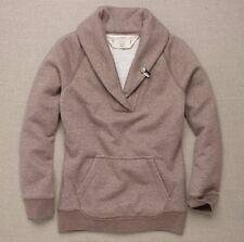 J CREW SHAWL-COLLAR FLEECE POPOVER Small S Tan Brown Sweatshirt Sweater 2007