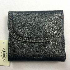 New Fossil Black Cleo Multifunction Wallet Leather Bifold NWT
