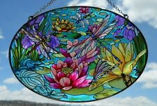 "AMIA Glass  ""Water Lilies & Dragonflies""  Suncatcher   - Hand Painted   -   NEW"