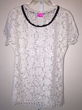 Betsey Johnson Ivory Black Swimsuit Coverup Lace Is More Tunic Dress Size XS