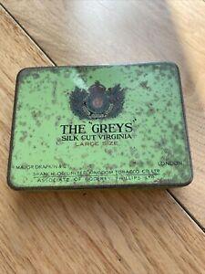 "Empty Antique Tobacco Tin - The "" Greys "" Silk Cut Virginia - 10cm (Approx) Long"