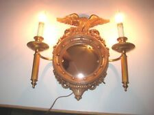 Vintage Syroco Fedral Eagle Port Hole Convex Mirror Lighted Candles Lamps Sconce