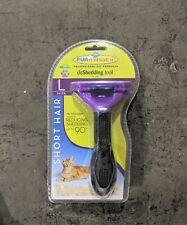 FURminator Cat deShed Tool Reduce Shedding LARGE PURPLE for SHORT HAIR