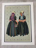 1932 Antico Stampa Paesi Bassi Tradizionale Dutch Costume Cappelli Donna Cofano