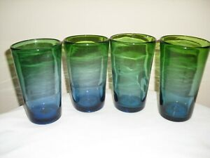 Vintage Blue and Green Hand Blown Glass Drink Glasses/ Tumblers  Set of 4