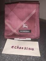 【Japan 】New Burberry Mini Scarf Handkerchief Dark Pink With Lines