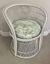 Vintage WHITE Buri Peacock Wicker Chair Shabby Chic Cottage Rattan Fan