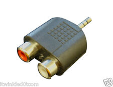 New 3.5mm audio jack out plug to 2 rca splitter adapter (Lots 2pcs)