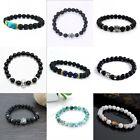 Fashion Black Lava Rock Stone Beaded Bracelet Charm Lion/Buddha Bracelet