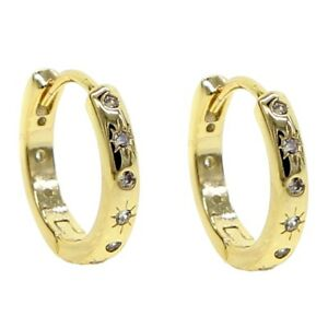 """Damen Creole """"Shiningstar"""" 18k Gold vergoldet 17 mm gelbgold  DJADEE O5596D"""