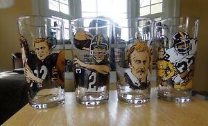 1990 Pittsburgh Steelers Set Of 4 HALL OF FAME Players Glass BRADSHAW LAMBERT
