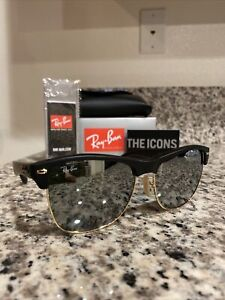 Ray Ban 4175 Oversize Clubmaster  877/30 Matte Black Silver Mirror Lens NEW!!!