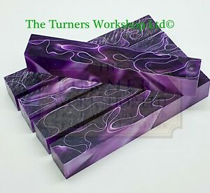 WOOD-TURNING - 5 x Acrylic Pen Blanks Violet Twist