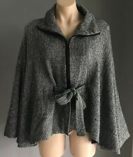 Pre-owned JENDI Tweed Poncho/Cape with Tie at Waist Size One Size 8-12