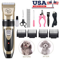 Pet Dog Cat Electric Trimmer Hair Clipper Low Noise Shaver Scissor Grooming Kit