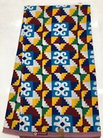 African KENTE Prints /African Print Fabric/ African Clothing/ BLUE,YELLOW,RED