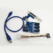 PCI-E 1X Expansion Kit 1 to 3 Ports Switch Multiplier Hub Riser Card USB 3.0 New