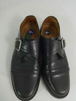 BOSSETTY MENS BLACK LEATHER BUCKLE OXFORD DRESS SHOES SIZE 9.5 M