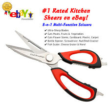 Heavy Duty 8-in-1 Multi-Function Kitchen Scissors Shears By Chef Brooklyn
