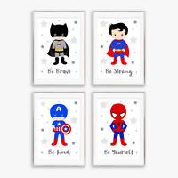Superhero Grey Star Art Prints Childrens Boys Bedroom Nursery Decor Pictures