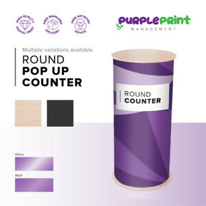 Full Colour Printed Round Pop Up Counter - Exhibition Display Table - Stand -