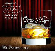Personalised Fathers Day Scotch Glass Whiskey Bourbon Engraved Gift Present