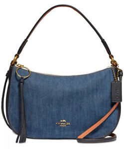 New Coach Denim sutton crossbody messenger bag cotton zip closure denim 67359