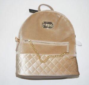 BEBE Gold Gina Chain Velvet Large Backpack