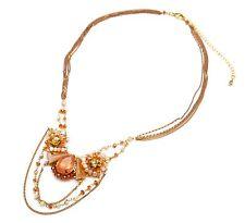 CC1021E * Collier Multi-Chaînes Pendentif Pierres et Perles Mode - Ambre