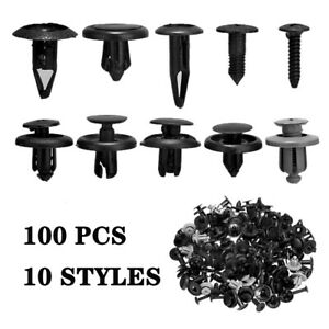 100X Trunk Screw Rivets Set Car Bumper Fender For Auto Plastic Fastener Clips US