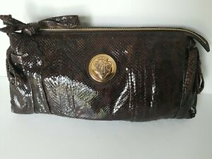 GUCCI Leather Python HYSTERIA Large Clutch Purse Brown w/ Dustbag JT01 NWOT