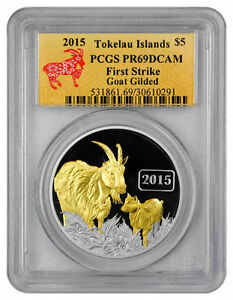 Rare 2015 Tokelau Large 1 OZ.999 Silver Gilt Proof $1 Year OfThe Goat-PCGS 69 DC