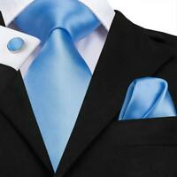 USA Sky Blue Solid Mens Tie Set Silk Necktie Woven Pocket Square Formal Wedding