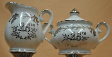 Lefton China Silver 25th Anniversary Cream and Sugar Set Hand Painted # 4929