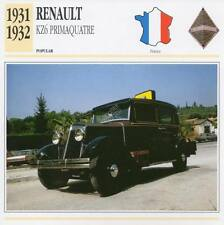 1931-1932 RENAULT KZ6 Primaquatre Classic Car Photograph / Information Maxi Card