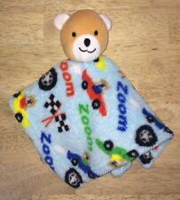 Brown Bear Baby Plush Blanket Lovey Zoom Cars Racing Blue Red Green Kidgets