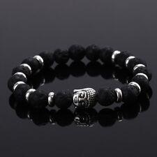 DF4 Natural Lava Stone Beads Black & Silver Buddha Stretch Bracelet