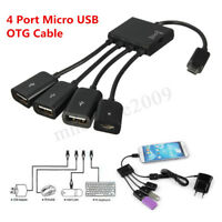 4 Ports Micro USB Power Charging OTG Hub Cable Adapter For Android Phone Tablet