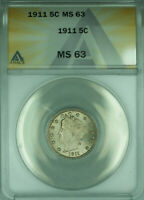 1911 Liberty V Nickel 5c Coin ANACS MS-63 Choice BU