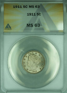 1911 Liberty V Nickel 5c Coin ANACS MS-63 Choice BU