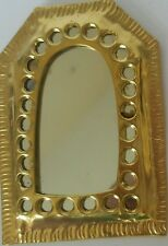Moroccan hand crafted beaten brass mirror SMALL ( design 1)