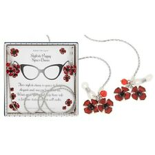 GIFT BOXED Equilibrium Silver Plated Red Poppy Glasses Specs Chain Diamante