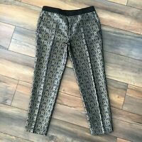 Zara Size M 12 Gold Black Embroidered Slim Pencil Trousers Party Occasion Xmas